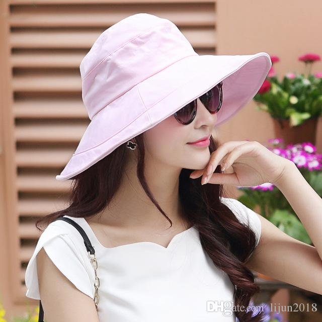 859776cc952 New Style Summer Womens UPF50 Cotton Packable Sun Hats W Chin Cord Wide  Brim Stylish 56 58CM Outdoor Fishing Floppy Cap. Tilley Hat Pillbox Hat From  ...