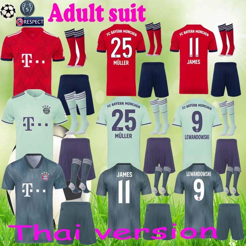 hot sales 78d24 c4680 2018 2019 Bayern Munich FC Soccer Mats Hummels Jersey Set Bundesliga 9  Robert Lewandowski 11 James Rodriguez Red Football Shirt Kit Uniform