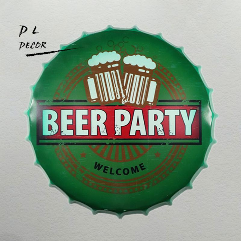 Beer Party Vintage Targhe in metallo Bar Lounge Culb Wall Decor Metal Beer Bottle Caps Targa Targa per Bar Placa De Metal