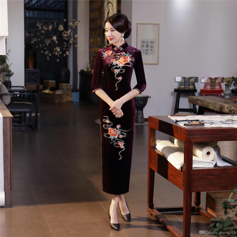 3f7155b684 Vestido Com Renda Xangai História Estilo Chinês Dress Veludo Longo Qipao  Chinês Tradicional Dress 3 4 Manga Cheongsam Dress Outono Borde Qipao Moda  Feminina ...