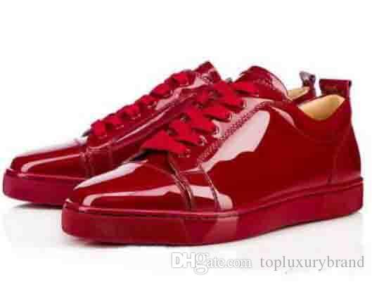 buy online 9c933 ba01d Elegant Low Top Red Black Sneakers Junior Flat Red Bottom Shoes Women Men  Trainers Patent Leather Lace-up Red Soles Luxury Party Dress Shoe
