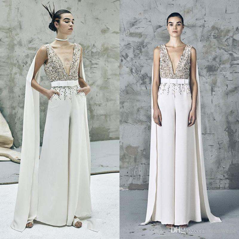 6e03ab372d40 Special Design Elie Saab Jumpsuit Prom Dresses Sheer Sequins Beaded V Neck  Formal Evening Gowns With Wrap Saudi Style Reception Dress Prom Dress Shop  Prom ...