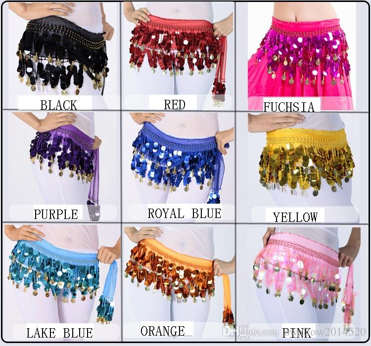 988bbad0d 2 Rows Big Sequins And 58 Coins Belly Egypt Dance Hip Skirt Scarf ...