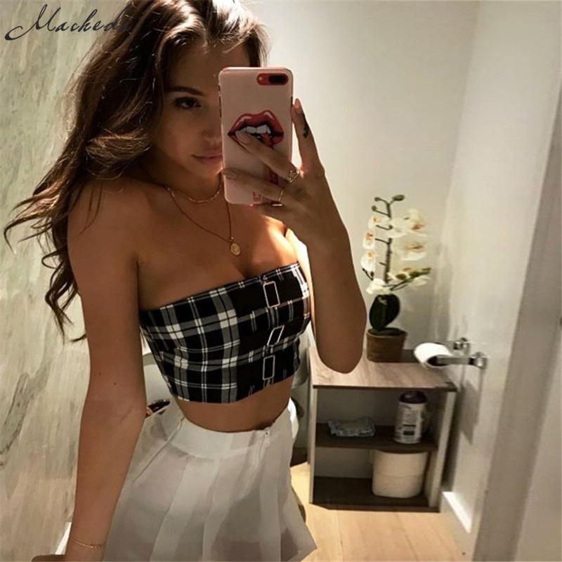 e5012949e4a0 2019 Macheda 2018 New Arrived Classic Tank Tops Short Plaid Sexy Sleeveless  Strapless Casual Brandy Melville Buckles Women Adress From Vanilla04