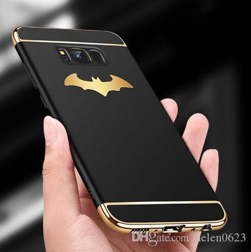 online store 383fe 5dcba Luxury 3 in 1 Plating PC Phone Cases For Samsung Galaxy Note 8 S8 Plus S7  edge Cover 3D Batman Wings Case Matte Shockproof Armor