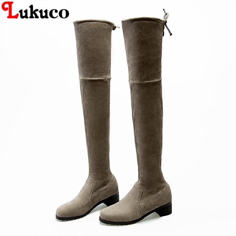 Lukuco Marke Frauen Schuhe Nubukleder Mode Stiefel Spitz Toe Slip-On  Oversize 35 36 37 38 39 40 41 42 43 Kostenloser Versand Damen Pumps