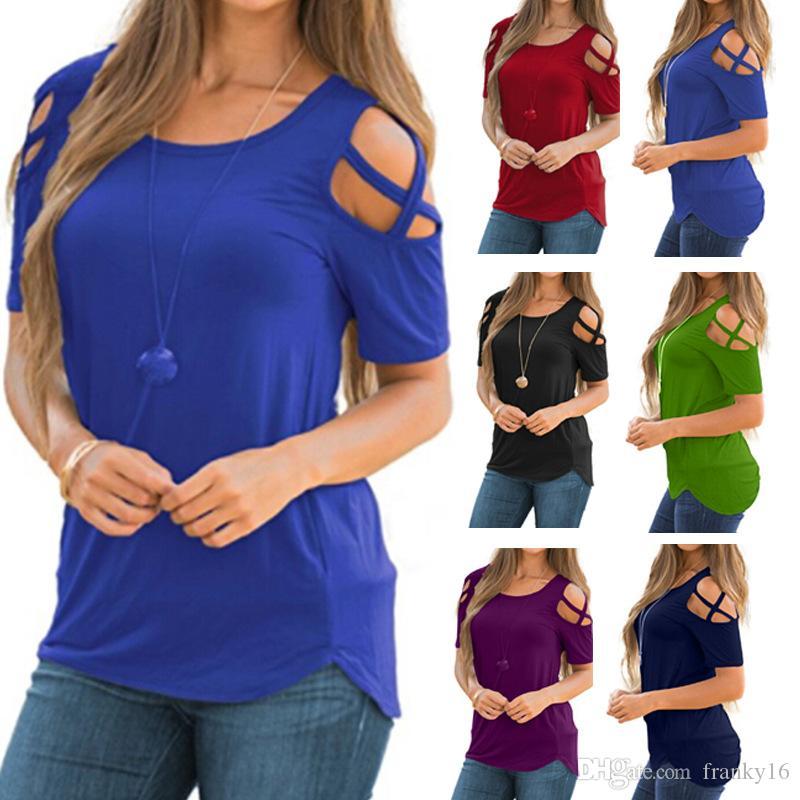 2018 Estate New Fashion T-shirt da donna manica corta solido Hole Strap T-Shirt in cotone casual Femmine Top Taglia S-2XL