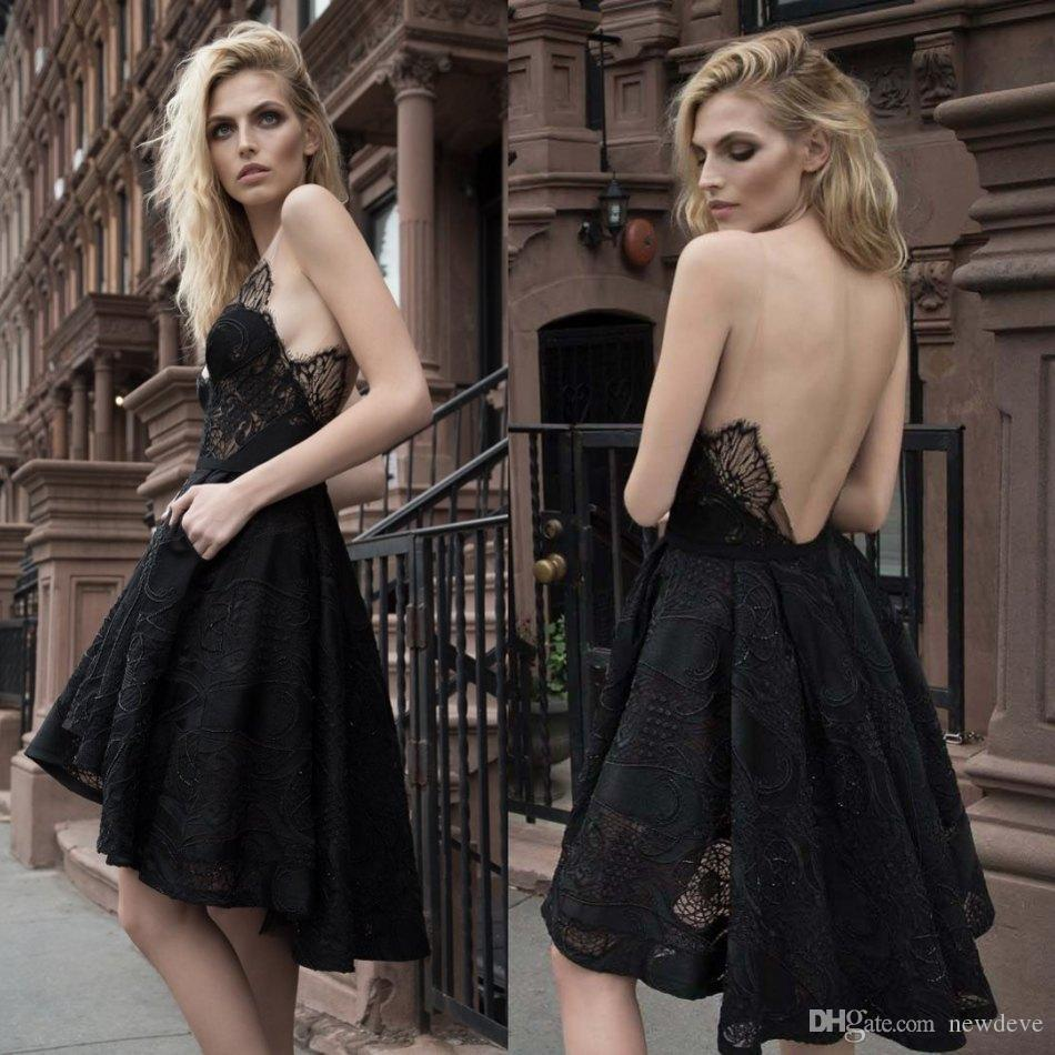 dcb436b6977 High Low Short Black Evening Dresses V Neck Inbal Dror Lace Formal Gowns  Sexy Plus Size Prom Dress Islamic Evening Dresses Ladies Evening Dress From  Newdeve ...
