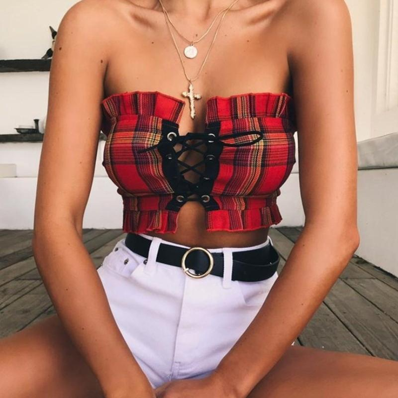 37f59311127 2019 Sexy Women Crop Top Sleeveless Lace Up Plaid Printed Bandeau Tube Tank  Tops Ruffles Brim Party Clue Beach Wear CropTop Talever From Qingxin13, ...