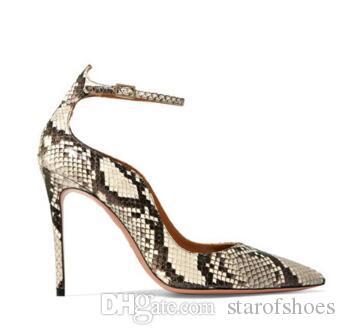 2018 Bahar Bej Kırmızı Yüksek Topuklu Düğün Ayakkabı Seksi Sivri Burun Kadın Ayak Bileği Toka Askı Pompaları Ince Topuklu Kadın Ayakkabı