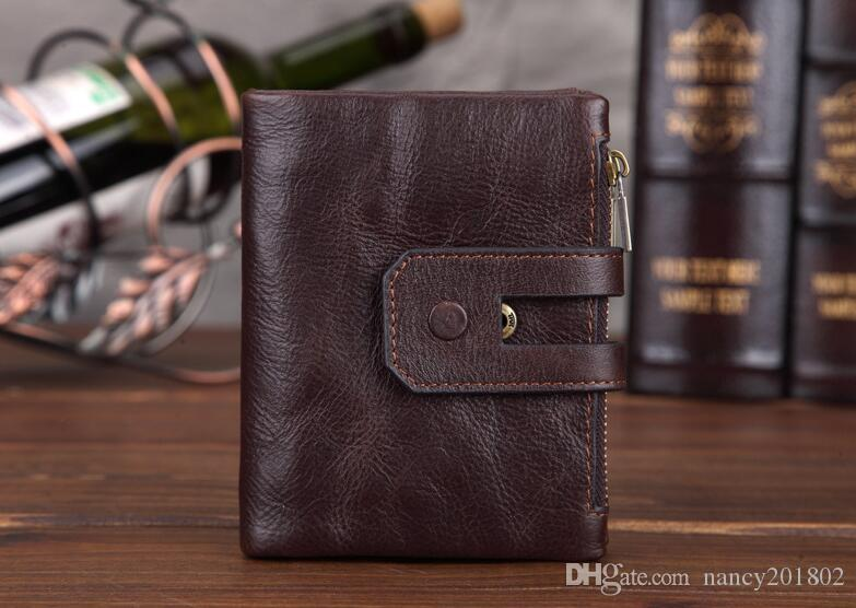 Genuine Cow Leather Men Wallet Fashion Coin Pocket Zipper&Hasp Organizer Wallects High Quality Male Card ID Holder