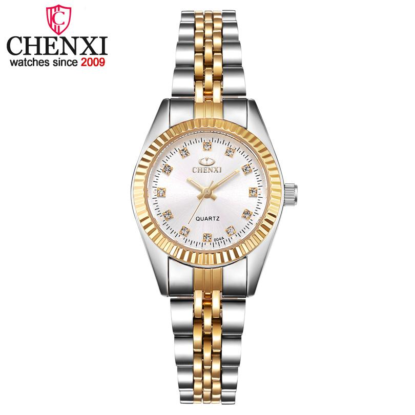 09075cd3855 Compre CHENXI Mulheres De Prata De Ouro Clássico Relógio De Quartzo Feminino  Elegante Relógio De Presente De Luxo Relógios Senhoras Relógio De Pulso À  Prova ...