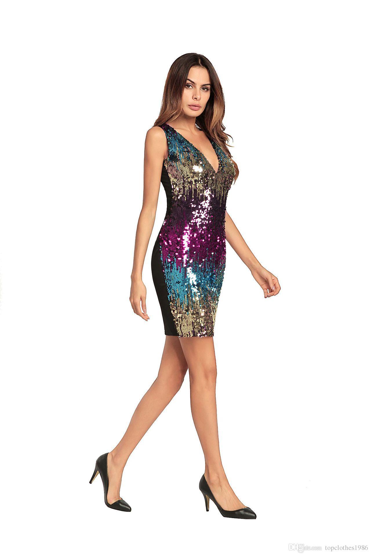 Yüksek kalite kadın Moda parti Elbise Kolsuz V Yaka Seksi elbise sequins Bodycon Elbiseler 3 renk Boyutu SMLXL2XL