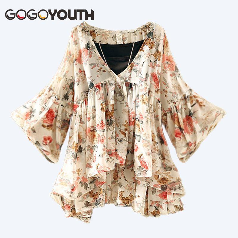 08b37078ee7 Gogoyouth Lantern Sleeve Womens Tops And Blouses 2018 Summer New Fashion  Chiffon Pluse Size Feminine Shirt Korean Chemise Femme Blouses   Shirts  Cheap ...