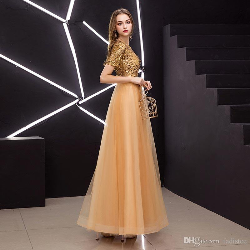 a28a9be98713 2019 New Arrival Party Dress Evening Dress Vestido De Festa A Line Half Sleeves  Prom Gown Long New Style Gold Tulle Sequins Frock Women Formal Dresses 8th  ...