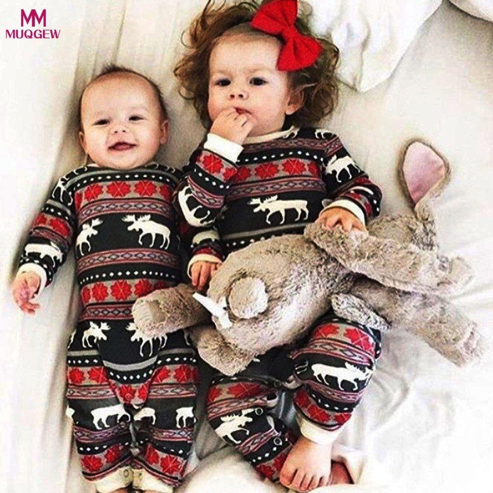 fd8b7da26 Compre Criança Do Bebê Da Menina Do Menino De Manga Longa De Natal Cervos  Imprimir Roupas Romper Animal Doce Roupa De Natal De Algodão Macacão Do Bebê  ...