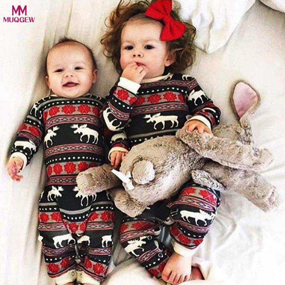 e790d7545 2019 Toddler Baby Boy Girl Christmas Long Sleeve Deer Print Romper Clothes  Animal Sweet Christmas Outfit Cotton Baby Romper Jumpsuit Y18102907 From  Gou07, ...