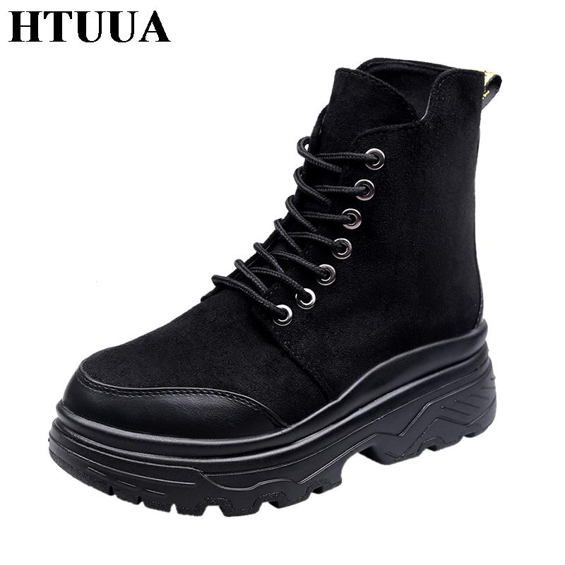8a2bb6f3139 HTUUA Casual Lace-Up Motorcycle Martin Boots Women Platform Sneakers Autumn  Winter Short Ankle Boots Black Flat Shoes SX1773