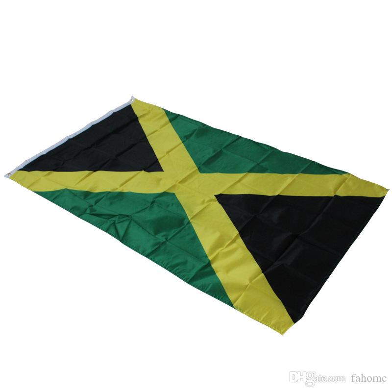 3Ft x 5Ft Jamaica National Flag Hanging Polyester Jamaica Flags Banner  Activity Festival Outdoor Indoor Home Decoration Big Flag