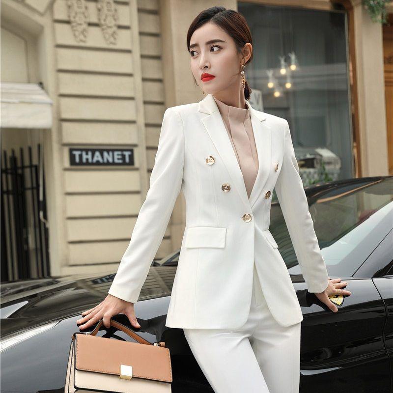 Compre Nuevo 2019 Formal Elegante Mujer Blanco Gris Blazers Chaquetas Azul  Escudo Oficina Damas Ropa De Trabajo De Negocios Ropa Femenina Estilos OL A  ... 9d1358be2306