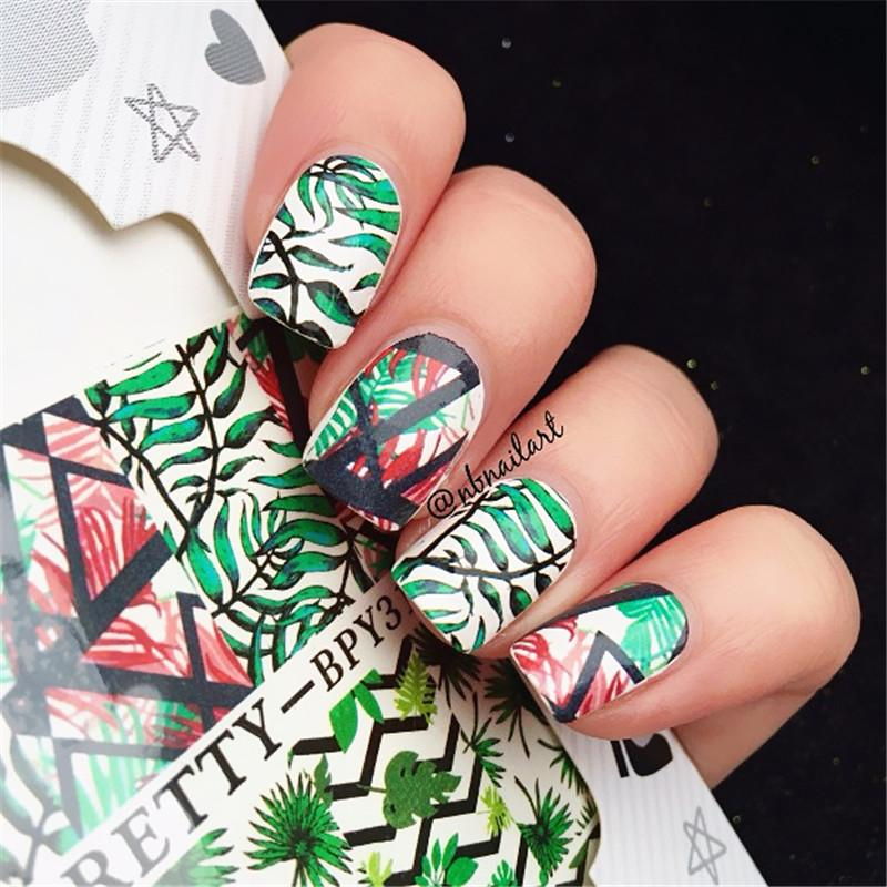 2 Patterns/Sheet Born Pretty Green Leaf Nail Art Water Decals ...