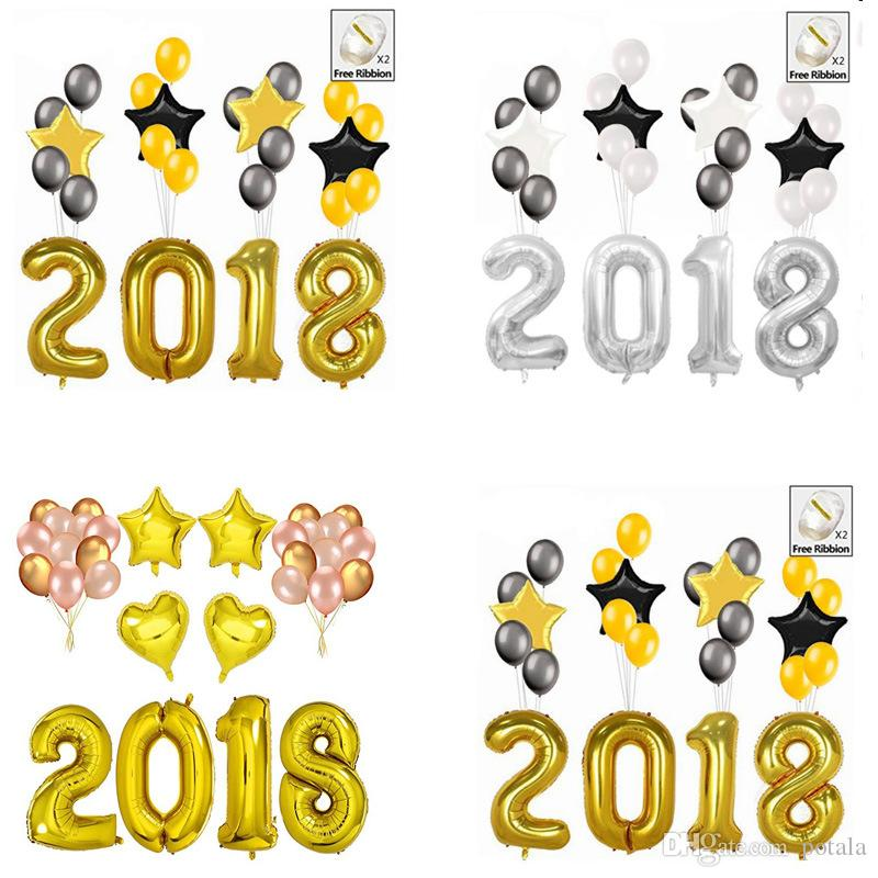40inch Happy New Year Christmas 32inch Number Foil Balloon 2018 ...