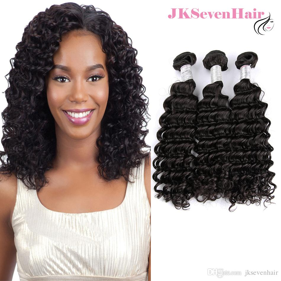 10A Grade Brazilian Deep Wave Virgin Hair Bundles 3PCS Natural Black Color Peruvian Indian Malaysian Cambodian Human Hair Wefts