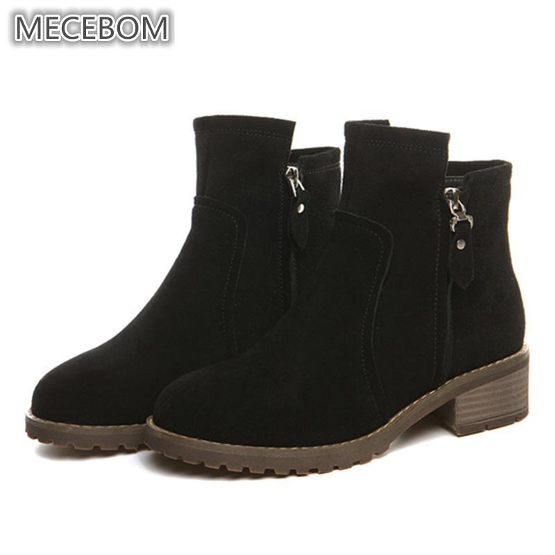 Winter Frauen Stiefel Freizeit Warme Pelz Dame Stiefeletten Niedrigen absatz Zip Boot Für Frauen Schuhe sapato feminino größe 35 39 2159 watt