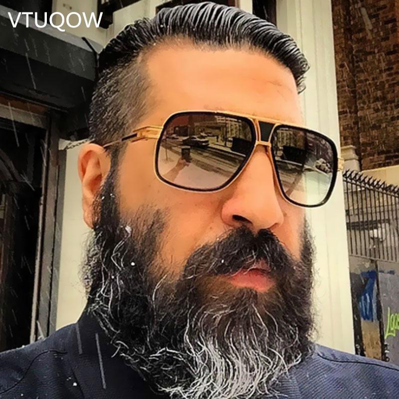 d89b1fc2547ac Compre 2019 Luxo De Alta Qualidade Piloto Óculos De Sol Dos Homens Da Marca  Oversized Quadrado Do Vintage Óculos De Sol De Condução Masculino Óculos De  Sol ...