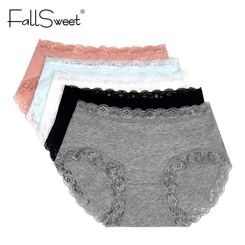2058af4518e FallSweet  Pack! Plus Size Cotton Women Undewear Lace Briefs Comfort ...