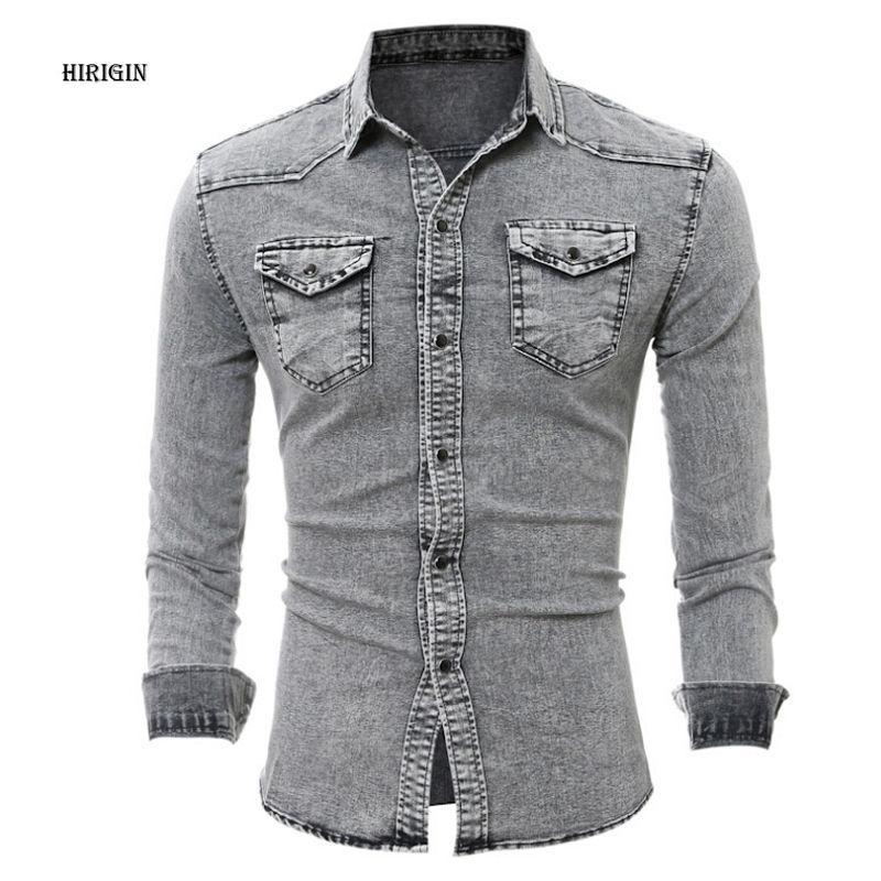 5c1027b7ad6 2019 HIRIGIN Denim Shirt Men Cotton Jeans Shirt Fashion Slim Long Sleeve  Cowboy Stylish Wash Slim Fit Tops Asian Size From Pingpo