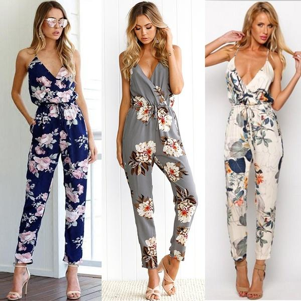 e0ab3e2b3b69 2019 Fashion Women Royal Blue Floral Printed Sling Backless Jumpsuit Summer  Sexy V Neck Sleeveless Beach Romper Jumpsuits From Tubxxxx