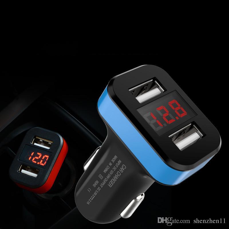 Çift USB Portu Dijital kırmızı LED Gerilim Akım Ekran Araç Şarj iphone Moile Telefon Tablet GPS 5 v 2A CAB269