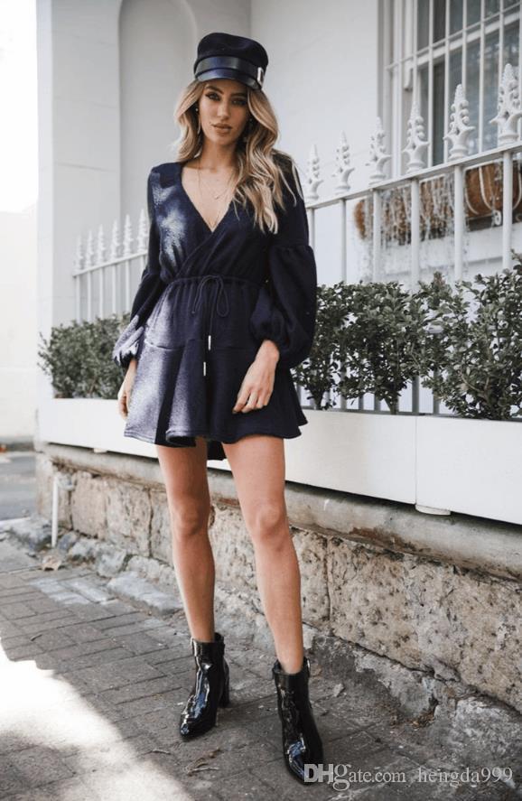 New Fashion Sexy Casual Dresses Women Summer V Neck Long Sleeve Dress  Chiffon Mini Dress Skirt Women Home Wear Bridesmaids Dress Plus Size Prom  Dress From ... bdce300f5