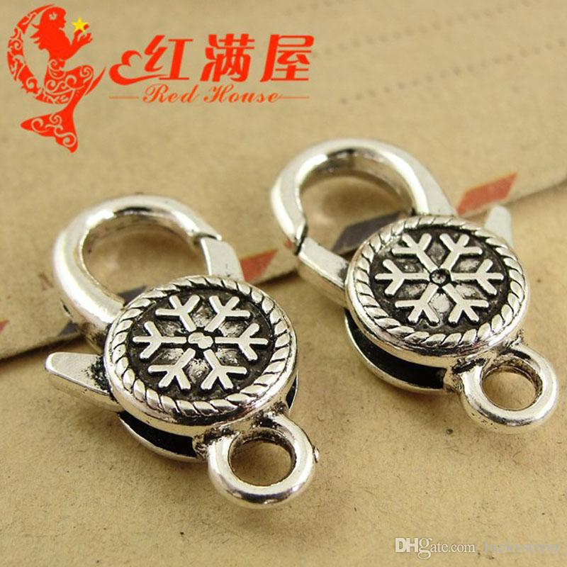 A3273 14*25MM Metal jewelry accessories zinc alloy antique silver snowflake pattern lobster clasp for bracelet retro vintage bronze key hook