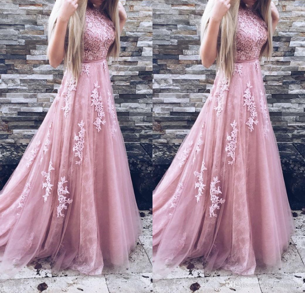 2018 Long Prom Dresses A Line Appliques Lace Sleeveless With Belt ...