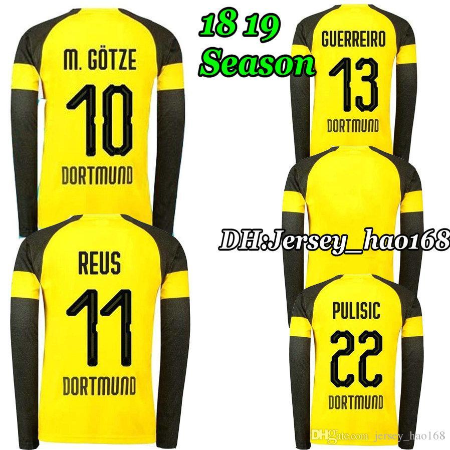 2018 PULISIC REUS Long Sleeve Home Yellow Soccer Jersey KAGAWA YARMOLENKO  AUBAMEYANG GOTZE DEMBELE MOR SAHIN 18 19 Football Shirt REUS Long Sleeve  Football ... 8261e8c47