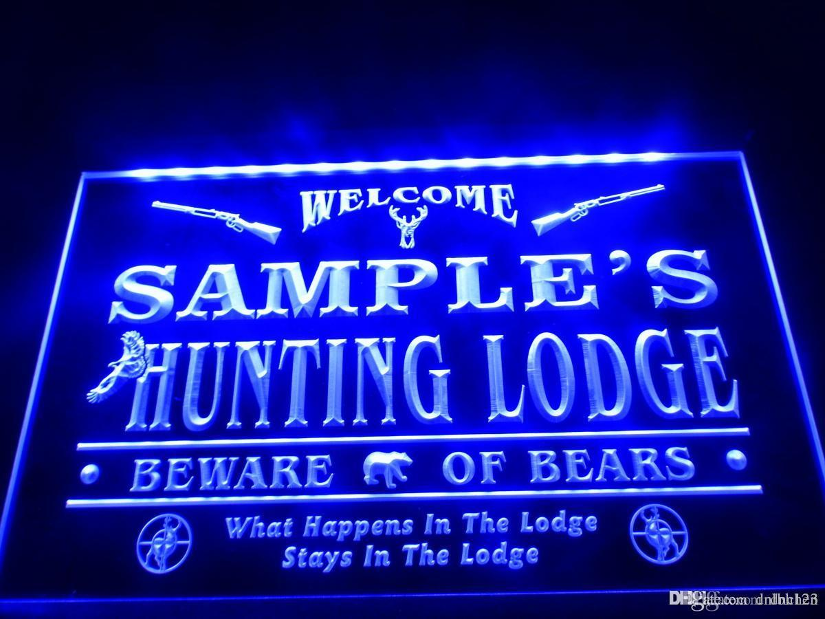 DZ042b- Name Personalized Custom Hunting Lodge Firearms Man Cave Bar LED Neon Beer Sign