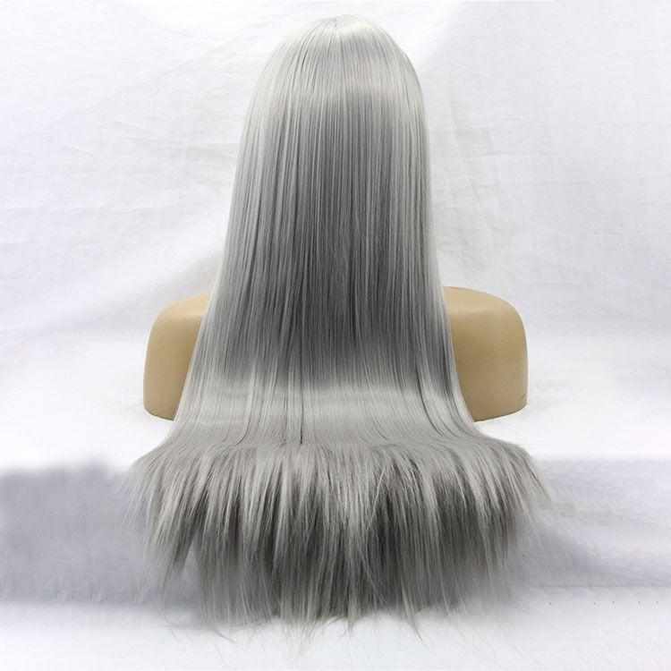 Рука связали натуральный длинный шелковистый прямой серебристо-серый цвет высокой плотности термостойкие синтетические парики фронта шнурка