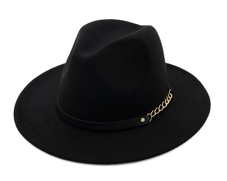Fashion TOP hats for men & women Elegant fashion Solid felt Fedora Hat Band Wide Flat Brim Jazz Hats Stylish Trilby Panama Caps