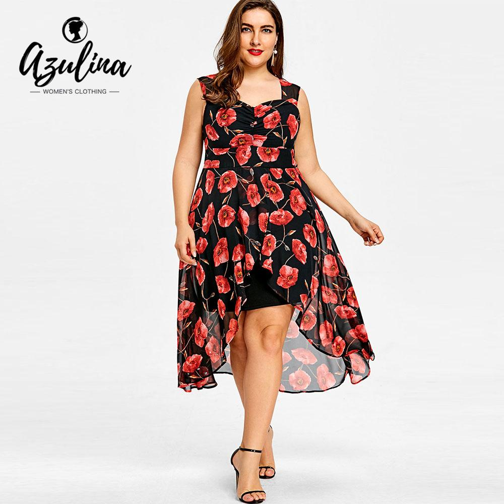 b6ed9b2a0345 2019 AZULINA Women Dress Plus Size 5XL Floral Sweetheart Neck Sleeveless  High Low Ladies Dresses 2018 Summer Casual Asymmetrical Robe From Weilad,  ...