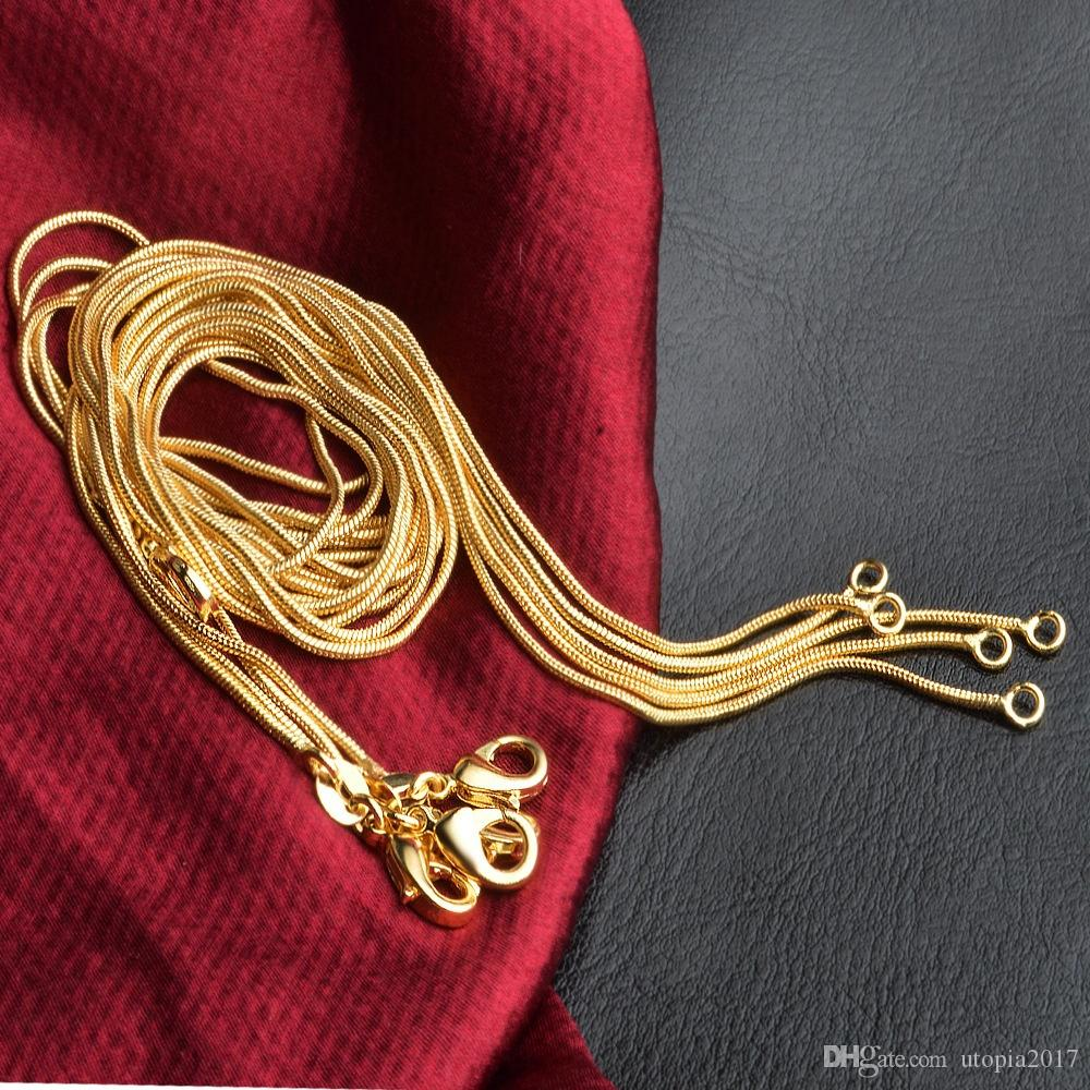 1MM Gold Silver Plated Snake Chains Necklace Fashion Diy Chain 18 20 22 24 Inches Customized Length