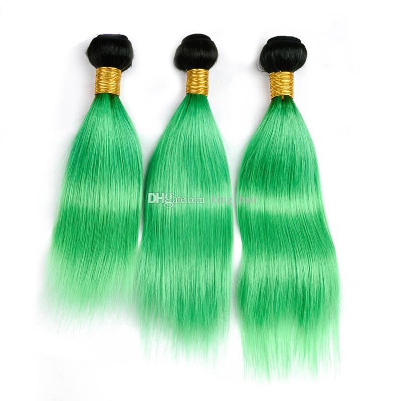 Dark Roots 1B Green Dart Roots Human Hair Bundles With Lace Closure Dark Green Straight Hair Weaves With Top Closure Free Part