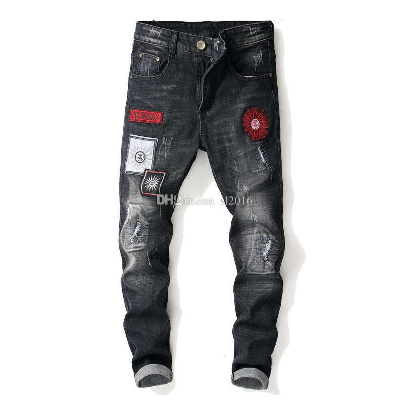 Fashion Vintage Men's Ripped Jeans Hip Hop Pants Slim Streetwear Destroyed Print Hole Casual Male Trousers Plus Size fear of god 29-38