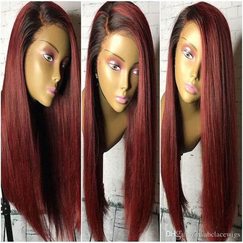 Hot Sale Side Paeting Natural Soft Ombre Burgundy Silky Straight Long Wigs Synthetic Heat Resistant Glueless Lace Front Wigs for Black Women