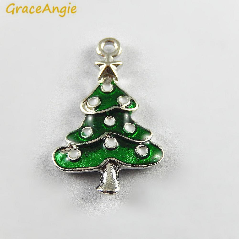 2018 green enamel small christmas tree charms wholesale christmas deco handmade crafts necklace pendant accessory jewelry from lantana 3322 dhgatecom - Small Metal Christmas Tree