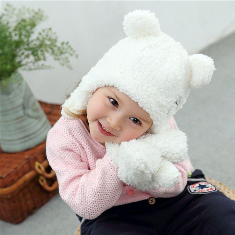 d473651d41a 2019 Super Cute Baby Winter Hat Mitten Set Warm Plush Infant Baby Beanie Cap  Newborn Bear Hat With Ear From Deve