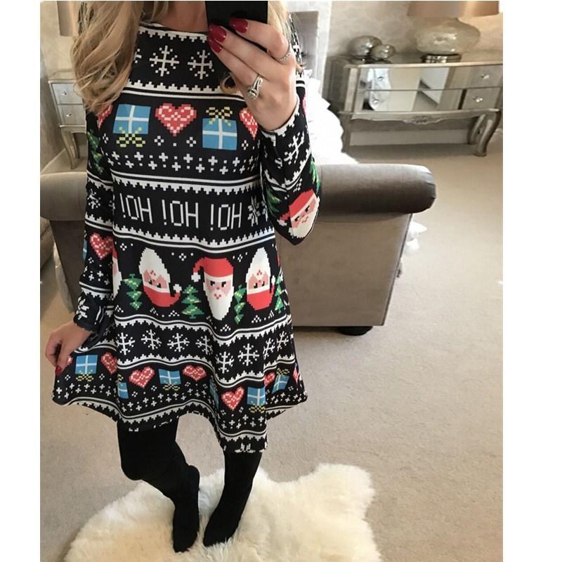 a9cd95485e0f Good Quality Plus Size New Fashion Winter Dress Women Casual Cartoon Christmas  Tree Print Dress Short Vintage Dresses Lady Clothing Black And White Dresses  ...