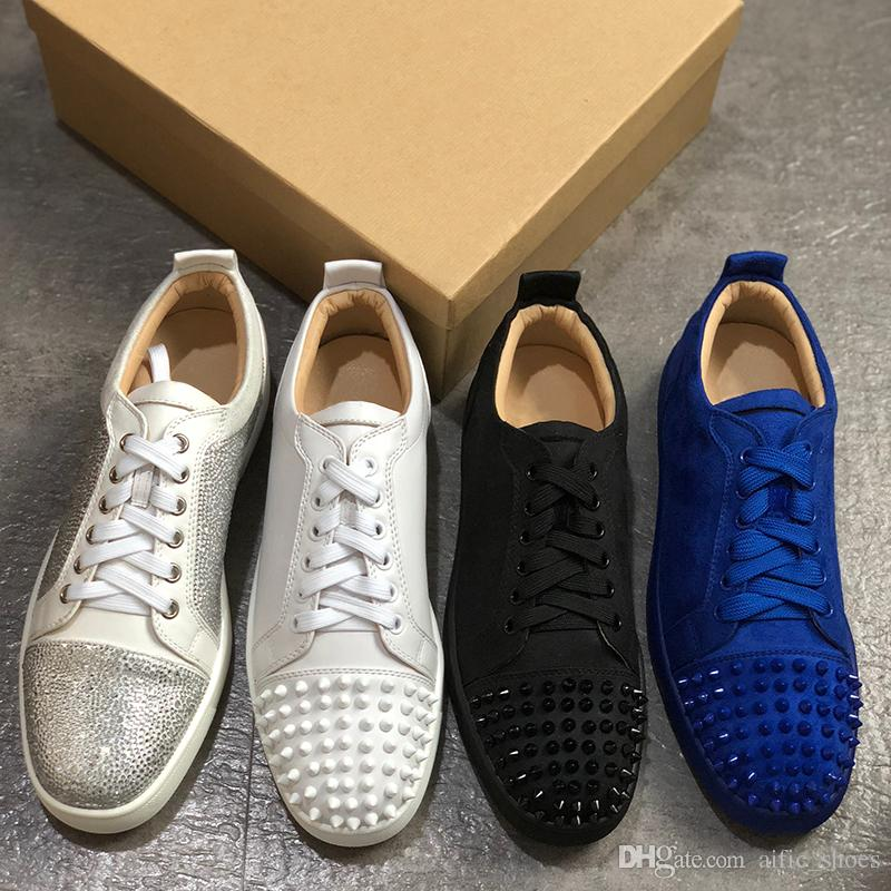 pretty nice fc02c 8b5fe Men Red Bottom spike shoes white leather Designer spikes Sneakers Women  Trainers Suede Casual shoes Leather Lace-up Spikes Red Sole w1
