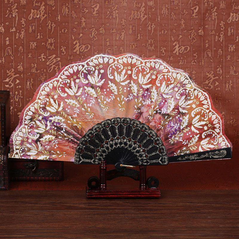 Lovely Women Girl Handmade Dancing Fan Elegant Flower Print Folding
